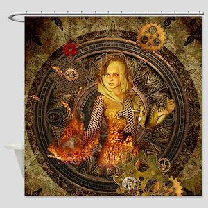 Wonderful steampunk lady with clocks, gears and fi