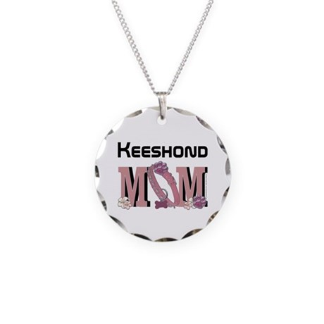 Keeshond MOM Necklace Circle Charm