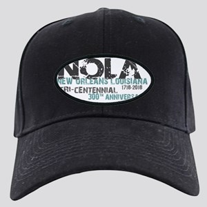 New Orleans, NOLA, Tri-Centen Black Cap with Patch