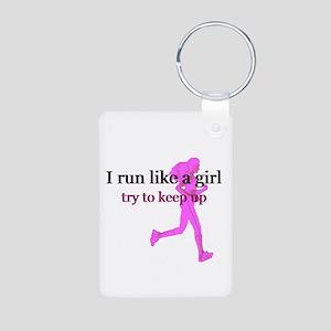 I Run Like a Girl Aluminum Photo Keychain