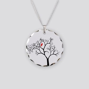 Cardinal in Snowy Tree Necklace Circle Charm