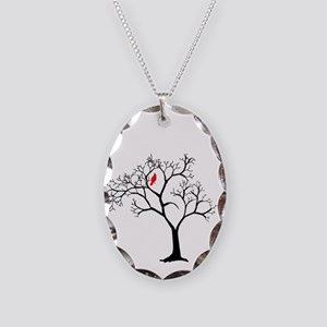 Cardinal in Snowy Tree Necklace Oval Charm