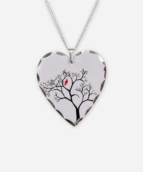 Cardinal In Snowy Tree Necklace
