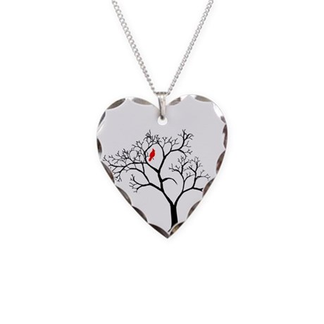 Cardinal In Snowy Tree Necklace Heart Charm