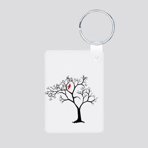 Cardinal in Snowy Tree Aluminum Photo Keychain