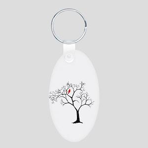 Cardinal in Snowy Tree Aluminum Oval Keychain