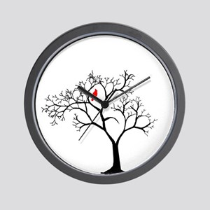 Cardinal in Snowy Tree Wall Clock
