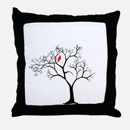 Cardinal in Snowy Tree Throw Pillow