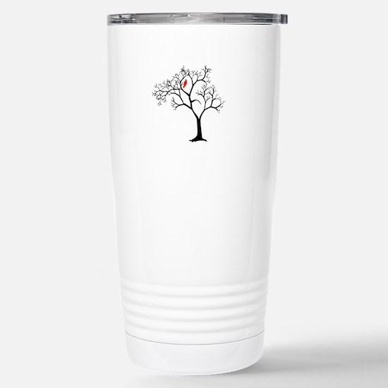 Cardinal in Snowy Tree Stainless Steel Travel Mug