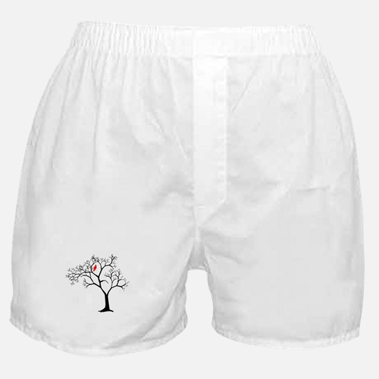 Cardinal in Snowy Tree Boxer Shorts