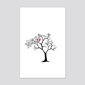 Cardinal in Snowy Tree Mini Poster Print