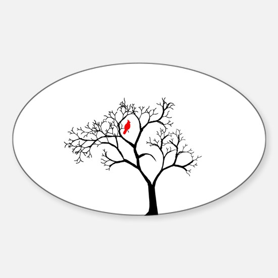 Cardinal in Snowy Tree Sticker (Oval)