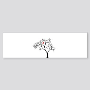 Cardinal in Snowy Tree Sticker (Bumper)