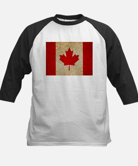 Faded Canadian Flag Kids Baseball Jersey