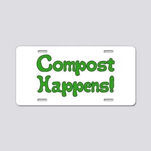 Compost Happens! Aluminum License Plate