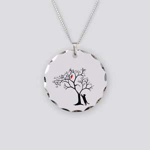 Red Cardinal in Tree with Ca Necklace Circle Charm