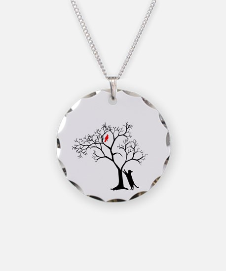 Red Cardinal in Tree with Ca Necklace