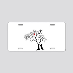 Red Cardinal in Tree with C Aluminum License Plate