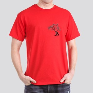 Red Cardinal In Tree With Cat Dark T-Shirt