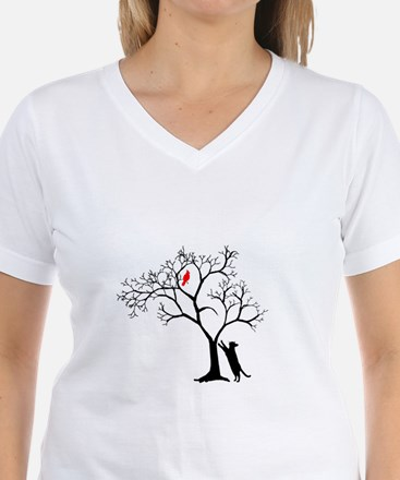 Red Cardinal in Tree with C Shirt