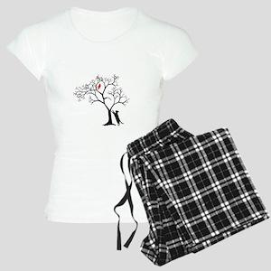 Red Cardinal in Tree with C Women's Light Pajamas