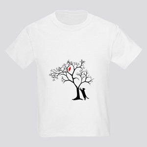 Red Cardinal in Tree with Cat Kids Light T-Shirt