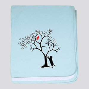 Red Cardinal in Tree with Cat baby blanket