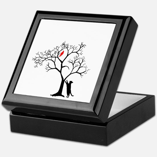 Red Cardinal in Tree with Cat Keepsake Box