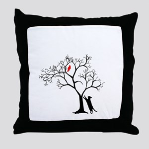 Red Cardinal In Tree With Cat Throw Pillow