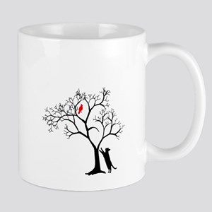 Red Cardinal in Tree with Cat 11 oz Ceramic Mug