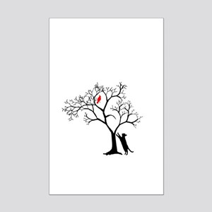 Red Cardinal in Tree with Cat Mini Poster Print