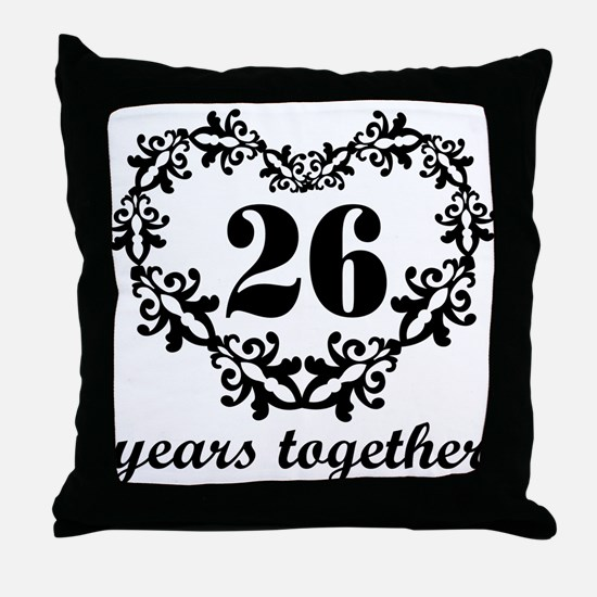 26th Anniversary Heart Throw Pillow