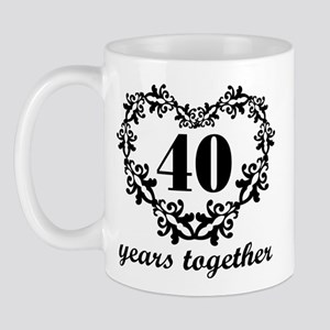 40th Anniversary Heart Mug