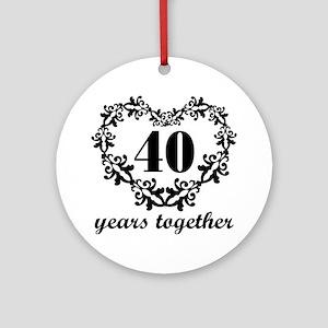 40th Anniversary Heart Ornament (Round)