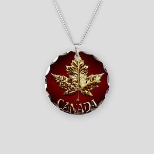 Gold Canada Souvenir Necklace Circle Charm