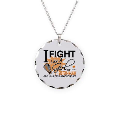 Fight Like a Girl Leukemia Necklace Circle Charm