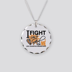 Fight Like a Girl Leukemia Necklace Circle Charm