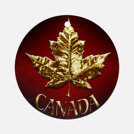 Gold Canada Souvenir Round Ornament