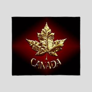 Gold Canada Souvenir Throw Blanket