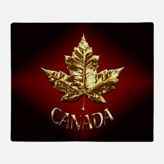 Gold Canada Souvenir Throw Blanket