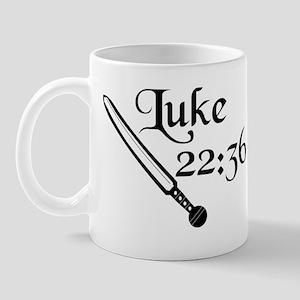 """""""Luke 22:36"""" with Roman gladius Mug"""