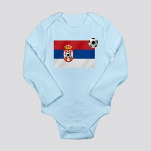 Serbian Football Flag Long Sleeve Infant Bodysuit