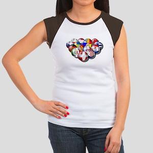 European Soccer Football Women's Cap Sleeve T-Shir
