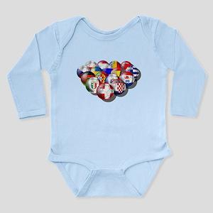 European Soccer Football Long Sleeve Infant Bodysu