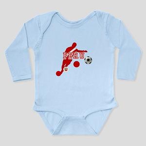 Peru Football Player Long Sleeve Infant Bodysuit