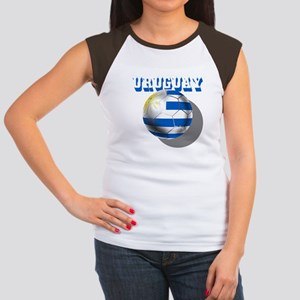 Uruguay Soccer Ball Women's Cap Sleeve T-Shirt