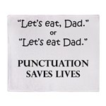 Punctuation Saves Throw Blanket