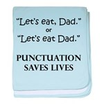 Punctuation Saves baby blanket