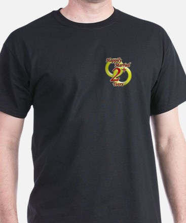 """""""Happily Married"""" Black T-Shirt"""