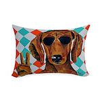 Dachshund Peace Sign Rectangular Throw Pillow